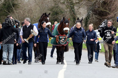 Gordon Elliott and grooms Karen Morgan and Louise Dunne with Tiger Roll, Winner of Aintree Grand National, Bless the Wings, 3rd at Aintree Grand National and General Principle Winner of the Irish Grand National