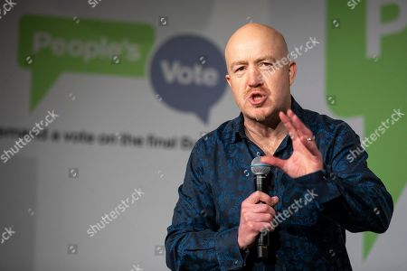 Comedian Andy Parsons the Electric Ballroom in Camden for the launch event for the People's Vote campaign which is calling for a public vote on the final Brexit deal.