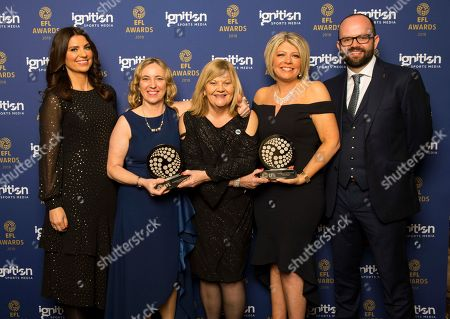 Blackburn Rovers, winners of the AmazeRealise Family club of the year, L to R, Bianca Westwood Sky Sports , Julie Preuschat, Christine Rennard, Lindsey Talbot and Paul Diamond