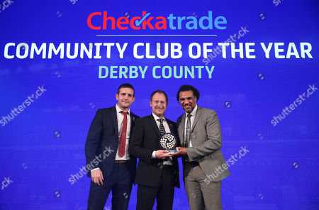 (L to R) John Wood, Head of Sales at Checkatrade, Paul Newman, Communities manager at Derby County and Don Goodman after Derby County win the Checkatrade Community club of the year award.
