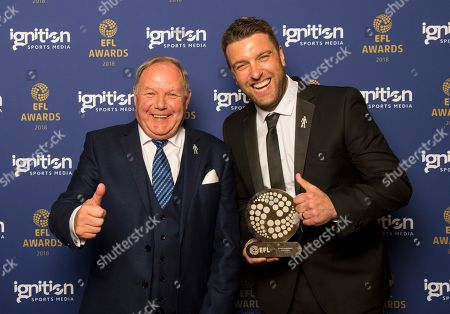 Stock Picture of The recipient of the Sir Tom Finney Award, Rickie Lambert with Peterborough United chairman Barry Fry