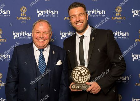 The recipient of the Sir Tom Finney Award, Rickie Lambert with Peterborough United chairman Barry Fry