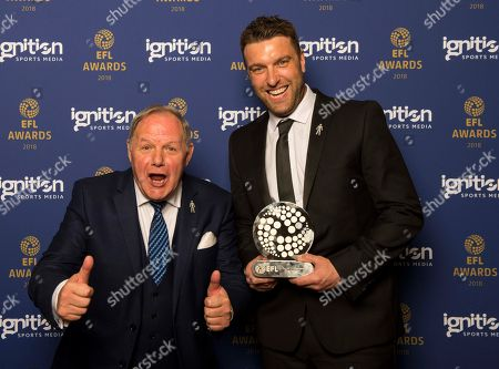 Stock Image of The recipient of the Sir Tom Finney Award, Rickie Lambert with Peterborough United chairman Barry Fry
