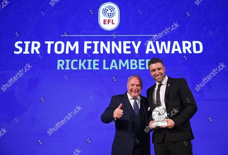Stock Photo of The recipient of the Sir Tom Finney Award, Rickie Lambert with Peterborough United chairman Barry Fry