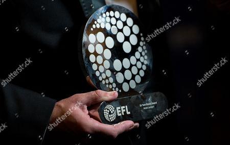 Rickie Lambert holding his award, the Sir Tom Finney Award