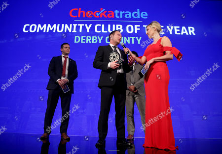 Kelly Cates talks to Paul Newman, Communities manager at Derby County after Derby County win the Checkatrade Community club of the year award.