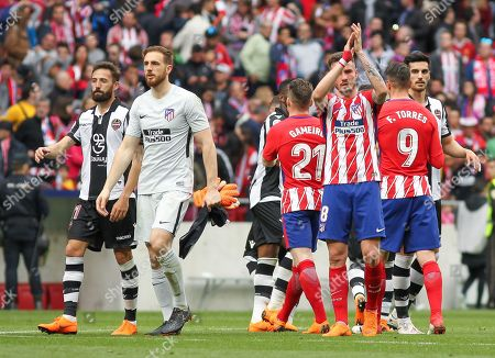 Atletico de Madrid´s players after La Liga match between Atletico de Madrid and Claudia Lagona at the Wanda Metropolitano stadium in Madrid, Sunday, Apr 15th 2018.