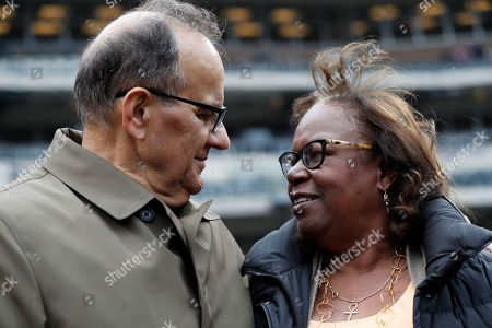 Joe Torre, Sharon Robinson. Joe Torre, left, Major League Baseball's chief baseball officer, talks with Sharon Robinson, daughter of Jackie Robinson, before a baseball game between the New York Mets and the Milwaukee Brewers on Jackie Robinson Day, in New York