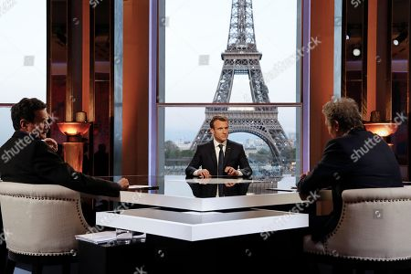 Editorial image of French president Emmanuel Macron interview, Paris, France - 15 Apr 2018