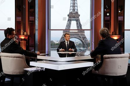 Stock Image of Emmanuel Macron, Jean-Jacques Bourdin and Edwy Plenel