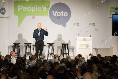 Comedian Andy Parsons speaks at the Electric Ballroom in Camden for the launch event for the People's Vote campaign which is calling for a public vote on the final Brexit deal.
