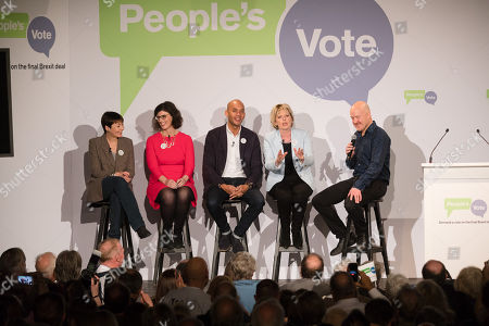 Stock Image of Caroline Lucas MP, Layla Moran MP, Chuka Umunna MP, Anna Soubry MP and Comedian Andy Parsons inside the Electric Ballroom in Camden at the launch event for the People's Vote campaign which is calling for a public vote on the final Brexit deal.