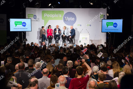 Caroline Lucas MP, Layla Moran MP, Chuka Umunna MP, Anna Soubry MP and Comedian Andy Parsons inside the Electric Ballroom in Camden at the launch event for the People's Vote campaign which is calling for a public vote on the final Brexit deal.