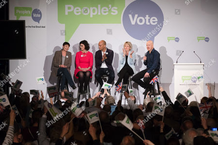 Stock Photo of Caroline Lucas MP, Layla Moran MP, Chuka Umunna MP, Anna Soubry MP and Comedian Andy Parsons inside the Electric Ballroom in Camden at the launch event for the People's Vote campaign which is calling for a public vote on the final Brexit deal.