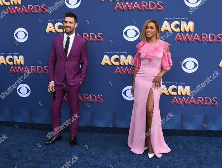 Stock Image of Jake Owen, Eve. Jake Owen, left, and Eve arrive at the 53rd annual Academy of Country Music Awards at the MGM Grand Garden Arena, in Las Vegas