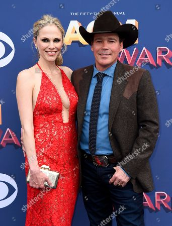 Stock Photo of Clay Walker, Jessica Craig. Jessica Craig, left, and Clay Walker arrive at the 53rd annual Academy of Country Music Awards at the MGM Grand Garden Arena, in Las Vegas