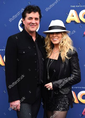 Stock Image of Scott Borchetta, Sandi Spika Borchetta. Scott Borchetta, left, and Sandi Spika Borchetta arrive at the 53rd annual Academy of Country Music Awards at the MGM Grand Garden Arena, in Las Vegas