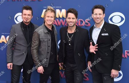 Barry Knox, Josh McSwain, Matt Thomas, Scott Thomas. Barry Knox, from left, Josh McSwain, Matt Thomas and Scott Thomas, of Parmalee, arrive at the 53rd annual Academy of Country Music Awards at the MGM Grand Garden Arena, in Las Vegas