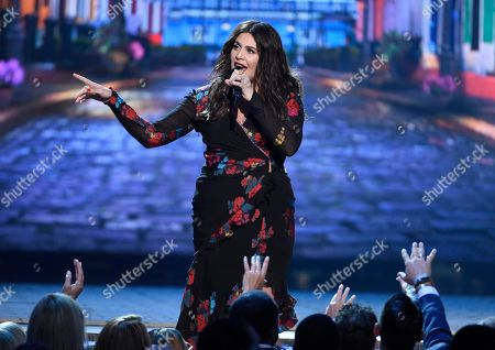 """Hillary Scott, of Lady Antebellum, performs """"Heart Break"""" at the 53rd annual Academy of Country Music Awards at the MGM Grand Garden Arena, in Las Vegas"""