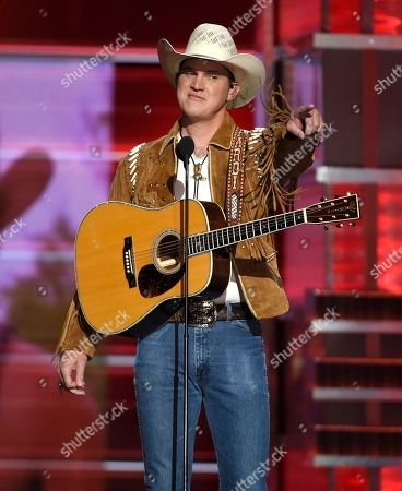 """Jon Pardi points to the crowd after performing """"Chattahoochee"""" at the 53rd annual Academy of Country Music Awards at the MGM Grand Garden Arena, in Las Vegas"""