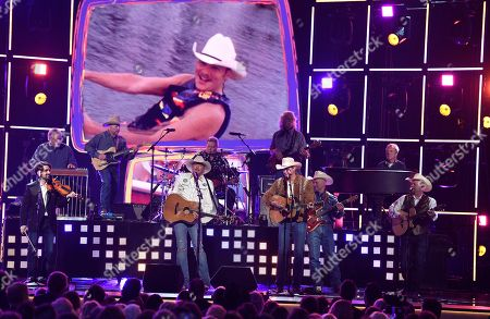 """Stock Picture of Alan Jackson, Jon Pardi. Alan Jackson, left, and Jon Pardi perform """"Chattahoochee"""" at the 53rd annual Academy of Country Music Awards at the MGM Grand Garden Arena, in Las Vegas"""