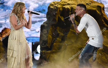 """Kane Brown, Lauren Alaina. Kane Brown, right, and Lauren Alaina perform """"What Ifs"""" at the 53rd annual Academy of Country Music Awards at the MGM Grand Garden Arena, in Las Vegas"""