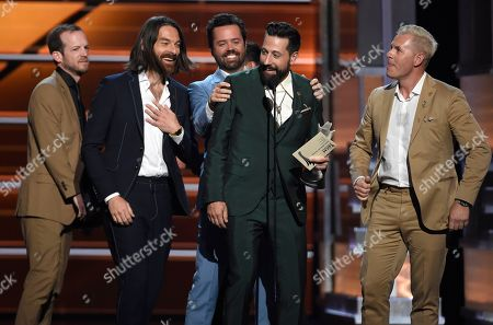 Whit Sellers, Geoff Sprung, Matthew Ramsey, Brad Tursi, Trevor Rosen. Whit Sellers, from left, Geoff Sprung, Brad Tursi, Matthew Ramsey and Trevor Rosen, of Old Dominion, accept the award for vocal group of the year at the 53rd annual Academy of Country Music Awards at the MGM Grand Garden Arena, in Las Vegas