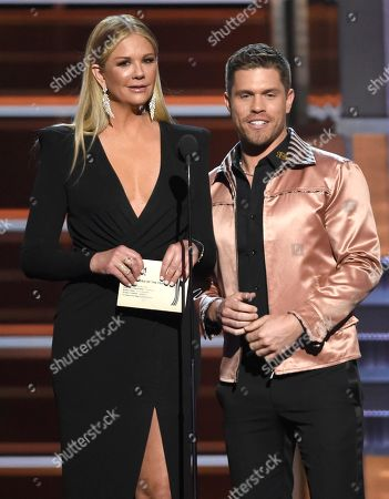 Nancy O'Dell, Dustin Lynch. Nancy O'Dell, left, and Dustin Lynch present the award for single record of the year at the 53rd annual Academy of Country Music Awards at the MGM Grand Garden Arena, in Las Vegas