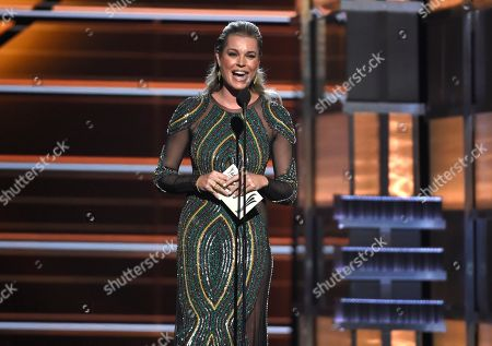 Rebecca Romijn presents the award for male vocalist of the year at the 53rd annual Academy of Country Music Awards at the MGM Grand Garden Arena, in Las Vegas