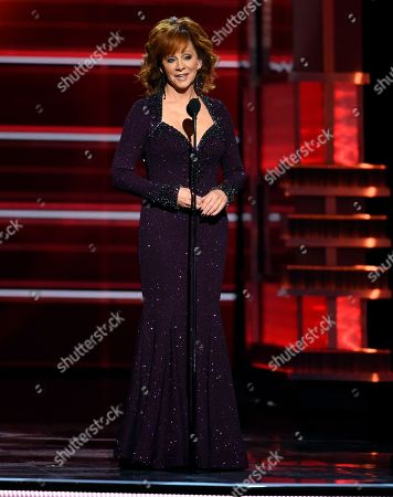 Host Reba McEntire speaks at the 53rd annual Academy of Country Music Awards at the MGM Grand Garden Arena, in Las Vegas