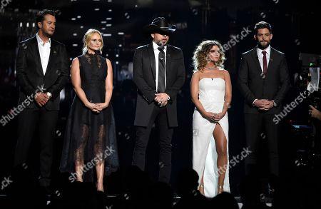 Luke Bryan, Miranda Lambert, Jason Aldean, Maren Morris, Thomas Rhett. Luke Bryan, from left, Miranda Lambert, Jason Aldean, Maren Morris and Thomas Rhett speak at the 53rd annual Academy of Country Music Awards at the MGM Grand Garden Arena, in Las Vegas