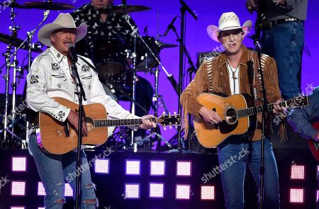 """Stock Photo of Alan Jackson, Jon Pardi. Alan Jackson, left, and Jon Pardi perform """"Chattahoochee"""" at the 53rd annual Academy of Country Music Awards at the MGM Grand Garden Arena, in Las Vegas"""
