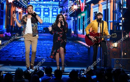 """Charles Kelley, Hillary Scott, Dave Haywood. Charles Kelley, from left, Hillary Scott and Dave Haywood, of Lady Antebellum, perform """"Heart Break"""" at the 53rd annual Academy of Country Music Awards at the MGM Grand Garden Arena, in Las Vegas"""