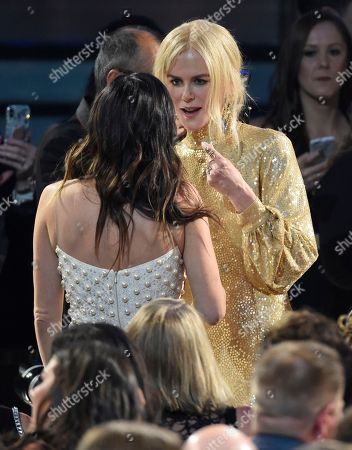 Nicole Kidman, Cassidy Black. Nicole Kidman, right and Cassidy Black speak in the audience at the 53rd annual Academy of Country Music Awards at the MGM Grand Garden Arena, in Las Vegas