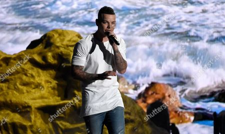 """Kane Brown performs """"What Ifs"""" at the 53rd annual Academy of Country Music Awards at the MGM Grand Garden Arena, in Las Vegas"""