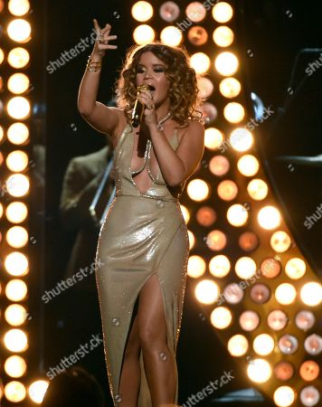 """Maren Morris performs """"Rich"""" at the 53rd annual Academy of Country Music Awards at the MGM Grand Garden Arena, in Las Vegas"""