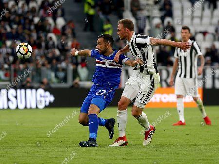 Fabio Quagliarella of Sampdoria and Benedikt Howedes of Juventus