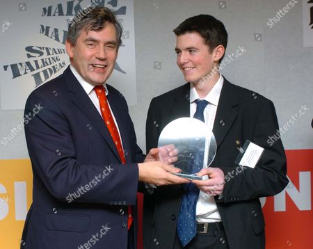 Chancellor Gordon Brown Who Presented The Daily Mail Enterprising Young Brits Awards. Winner Fraser Doherty. Fraser Doherty 15 Founder Of Doherty's Preserves - Makes Jams And Marmalades At Home In Edinburgh Then Sells Them Door-to-door And Nationwide Via He Intenet. Fraser Has Sol More Than A1 000-worth Of Preserves. Winner Of The Daily Mail Teen Enterprising Young Brits Competition.