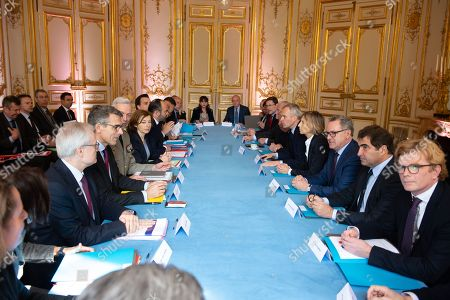 Editorial photo of Parliamentary commissions presidents and Heads of the National Assembly and the Senate meet at Matignon Palace, Paris, France - 15 Apr 2018