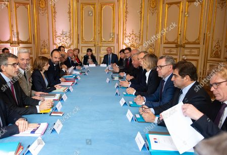 Stock Photo of Marc Guillaume, General Francois Lecointre, French Defence Minister Florence Parly, French Prime Minister Edouard Philippe, Philippe Dallier, Gerard Larcher, Francois de Rugy, Murielle de Sarnez, Richard Ferrand, Christian Jacob, and Marc Fresneau.