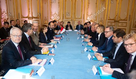 Stock Image of Bernard Emie, Marc Guillaume, General Francois Lecointre, French Defence Minister Florence Parly, French Prime Minister Edouard Philippe, Philippe Dallier, Gerard Larcher, Francois de Rugy, Murielle de Sarnez, Richard Ferrand, Christian Jacob, and Marc Fresneau.
