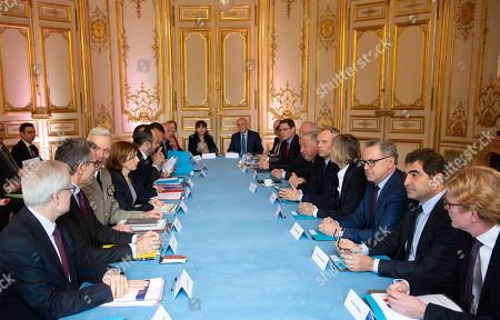Stock Picture of Bernard Emie, Marc Guillaume, General Francois Lecointre, French Defence Minister Florence Parly, French Prime Minister Edouard Philippe, Philippe Dallier, Gerard Larcher, Francois de Rugy, Murielle de Sarnez, Richard Ferrand, Christian Jacob, and Marc Fresneau.