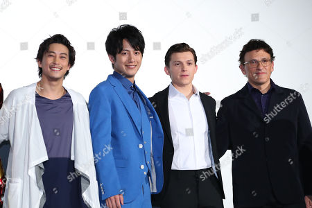 Stock Picture of British actor Tom Holland, film director Anthony Russo, Japanese actor Junpei Mizobata and Gaku Sano