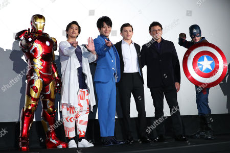 British actor Tom Holland, film director Anthony Russo, Japanese actor Junpei Mizobata and Gaku Sano