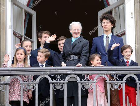 Stock Photo of Queen Margrethe II   Prince Christian and Princess Isabella and Princess Josephine and Prince Vincent, Prince Henrik, Princess Athena, Prince Felix, Princes Nikolai