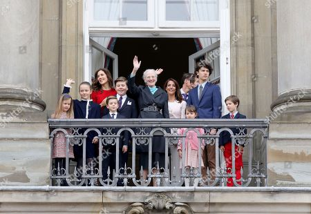 Queen Margrethe II   Crown Princess Mary, Prince Christian, Princess Isabella, Princess Josephine, Prince Vincent.   Princess Marie, Prince Joachim, Prince Henrik, Princess Athena, Prince Nikolai of Denmark