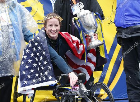 Tatyana McFadden of the US celebrates after winning the women's wheelchair division of the 122nd Boston Marathon in Boston, Massachusetts, USA, 16 April 2018.  The Marathon has been run annually by the Boston Athletic Association since 1897 and features more than 30,000 registerd participants.