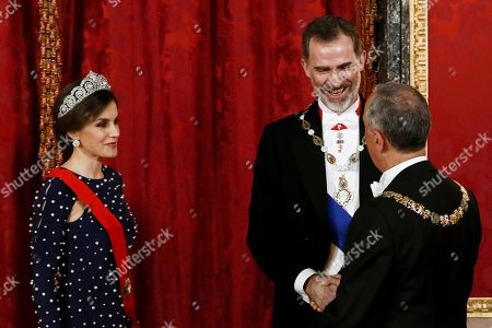 Greet stock photos editorial images and stock pictures shutterstock spains king felipe vi 2 r and queen letizia l greet m4hsunfo