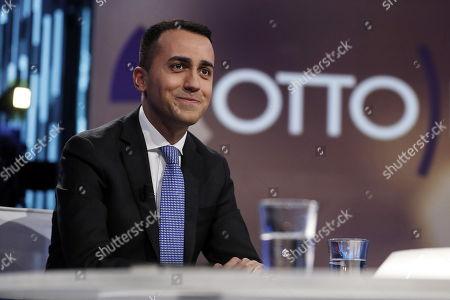 Leader of Five Stars Movement, Luigi Di Maio (C) at LA7 TV program 'Otto e Mezzo' hosted by journalist Lilli Gruber in Rome, Italy, 16 April 2018.