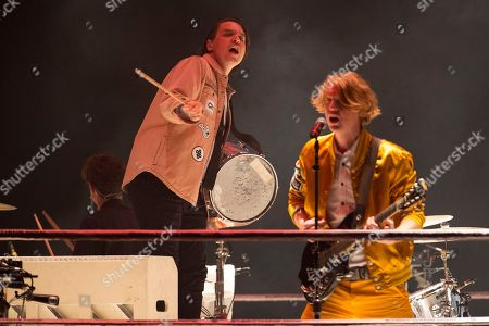 Stock Photo of Arcade Fire - Jeremy Gara, William Butler and Richard Reed Parry